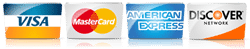 credit cards accepted visa, mastercard, amex, discover