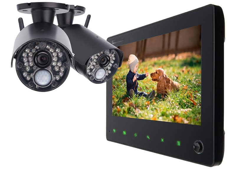 Image of 2 surveillance cameras and a monitor