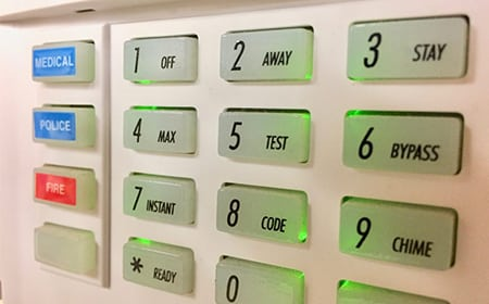 image of an alarm system keypad
