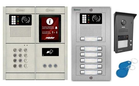 image of two different types of intercom systems and access key fobs